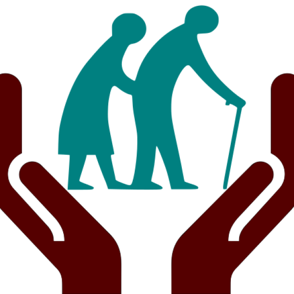 Icon of a pair of open hands holding an elderly man and woman, both are stooped and the man walks with a cane.