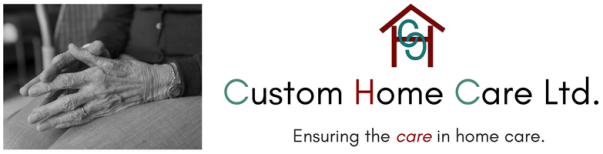 CHC banner. On the left is a BW picture of an old woman' hands in her lap. To the centre and right is the company name with the linked Cs in the centre of a capital H made to look like a house. Under the company name is the tag line ensuring the care in h